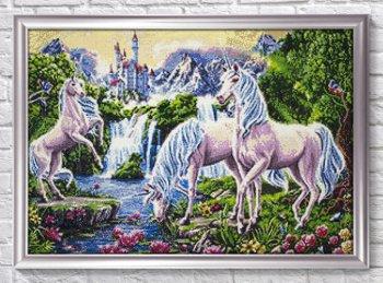 "Мозаичная картина Ag 2468 ""Единороги"" в раме"