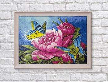 "Мозаичная картина Ag 2475 ""Бабочки и пионы"" в раме"