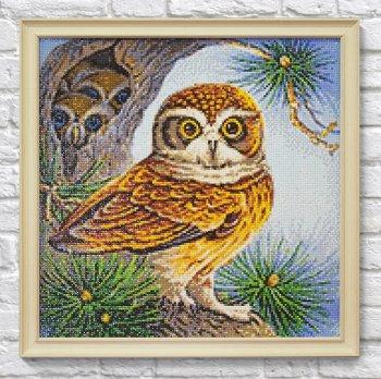 """Мозаичная картина Ag 2476 """"Сова с птенцами"""" в раме"""