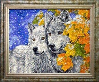 """Мозаичная картина Ag 318 """"Кленовые листья"""" в раме"""