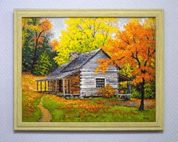 "Мозаичная картина Ag 331 ""Домик в лесу"" в раме"