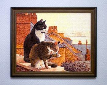 """Мозаичная картина Ag 336 """"Коты на крыше"""" в раме"""