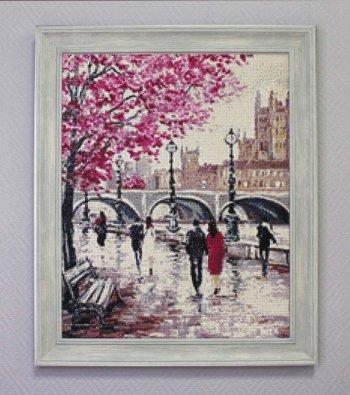 """Мозаичная картина Ag 3417 """"Городской мост"""" в раме"""