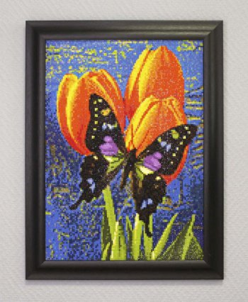"Мозаичная картина Ag 3436 ""Бабочка на тюльпанах"" в раме"
