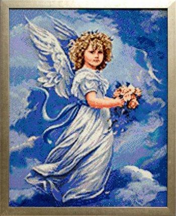 """Мозаичная картина Ag 344 """"Ангел с цветами"""" в раме"""
