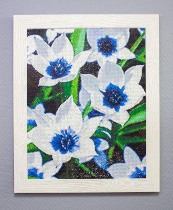 """Мозаичная картина Ag 385 """"Синеглазые тюльпаны"""" в раме"""
