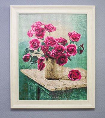 """Мозаичная картина Ag 386 """"Розовые грезы"""" в раме"""