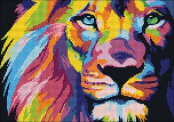"""Мозаичная картина Ag 444 """"Радужный лев"""" в собранном виде"""
