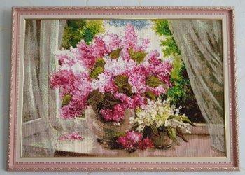 """Мозаичная картина Ag 515 """"Сирень на окне"""" в раме"""