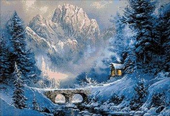 """Мозаичная картина Ag 5839 """"У подножия горы"""" в собранном виде"""