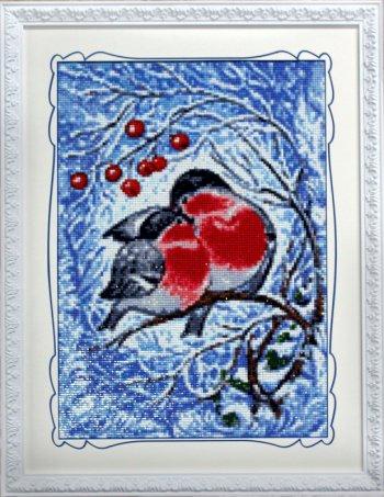 """Мозаичная картина Ag 6014 """"Снегири"""" в раме"""