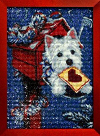 """Мозаичная картина Ag 6022 """"Рождественская посылка"""" в раме"""