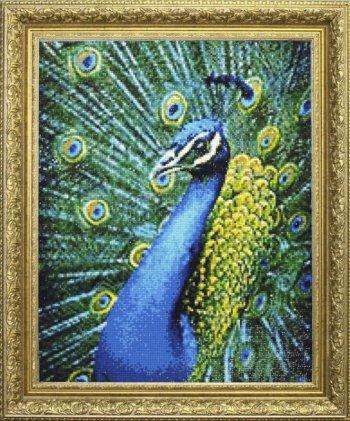 """Мозаичная картина Ag 6024 """"Лазурный павлин"""" в раме"""