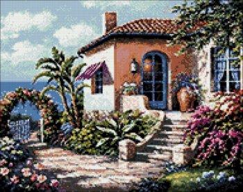 """Мозаичная картина Ag 633 """"Дом у моря"""" в собранном виде"""
