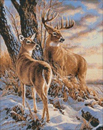 """Мозаичная картина Ag 668 """"В зимнем лесу"""" в собранном виде"""