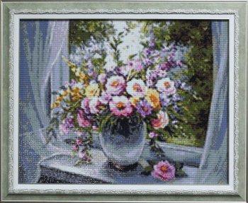 """Мозаичная картина Ag 670 """"Цветы на подоконнике"""" в раме"""