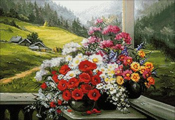 """Мозаичная картина Ag 677 """"Альпийский букет"""" в собранном виде"""