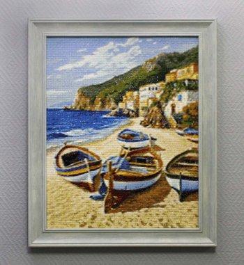 """Мозаичная картина Ag 705 """"Рыбацкие лодки"""" в раме"""
