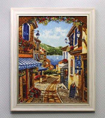 "Мозаичная картина Ag 709 ""Курортная улочка"" в раме"