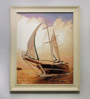 "Мозаичная картина Ag 713 ""Быстрая яхта"" в раме"