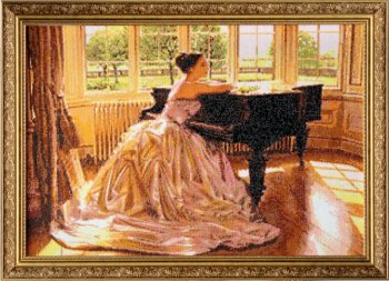 """Мозаичная картина Ag 821 """"Пианистка"""" в раме"""
