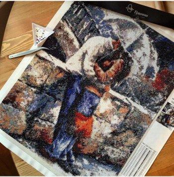 """Мозаичная картина Ag 833 """"Романтическая прогулка под дождем"""" в собранном виде"""