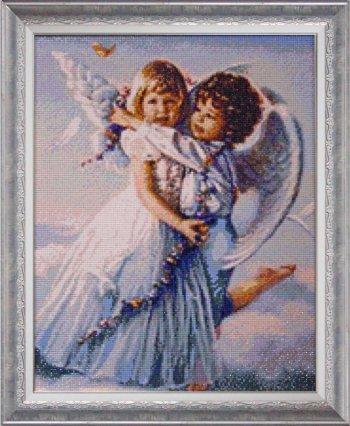 """Мозаичная картина Ag 851 """"Ангелочки"""" в раме"""