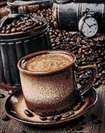 """Мозаичная картина Ag 872 """"Кофе-брейк"""" в собранном виде"""