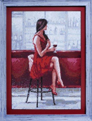 """Мозаичная картина Ag 879 """"Свидание. Она"""" в раме"""