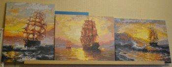 Картины по номерам с парусниками, нарисованные покупателем