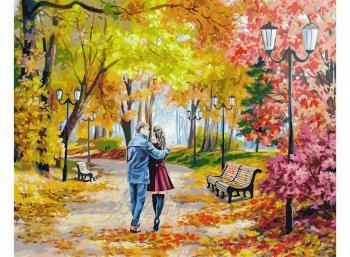 Осенний парк, скамейка, двое
