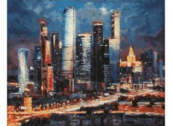 Вечерние огни Москва Сити