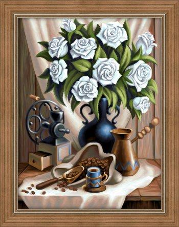 Белые розы и черный кофе