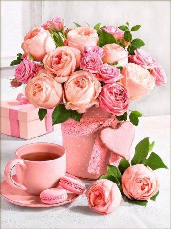 Букет розовое чаепитие